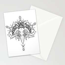Raven Skull (Crowned) - Black Stationery Cards