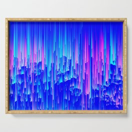 Neon Rain - A Digital Abstract Serving Tray