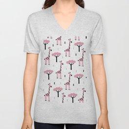 Giraffe savannah girls sweet pink Africa pattern Unisex V-Neck