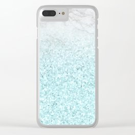 She Sparkles - Turquoise Sea Glitter Marble Clear iPhone Case