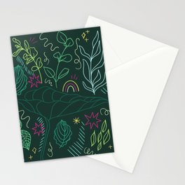Colorful Leaf Outline Stationery Cards