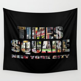 TIMES SQUARE New York City (colour photo filled flat type on black) Wall Tapestry