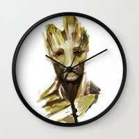 groot Wall Clocks featuring Groot by cos-tam