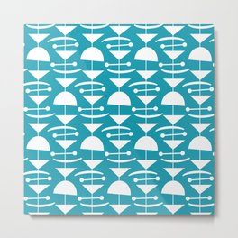 Retro Mid Century Modern Abstract Mobile 660 Turquoise Metal Print