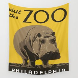 Vintage Visit The Zoo Hippo Wall Tapestry