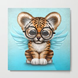 Tiger Cub with Fairy Wings Wearing Glasses on Blue Metal Print