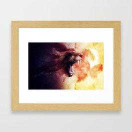 Cat roaring lion Framed Art Print