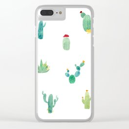 Summer pattern with cacti and yellow cats ! Clear iPhone Case