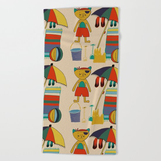 cat at the beach cream Beach Towel