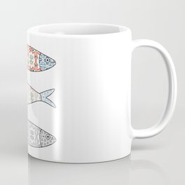 Traditional Portuguese icon. Colored sardines with typical Portuguese tiles patterns. Vector illustr Coffee Mug