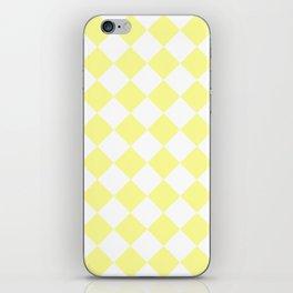 Large Diamonds - White and Pastel Yellow iPhone Skin