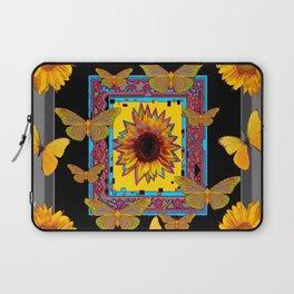 WESTERN BLACK & GREY BUTTERFLIES SUNFLOWERS Laptop Sleeve