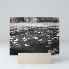 Black and White Flower Petals on Pavement Road Photograph Mini Art Print