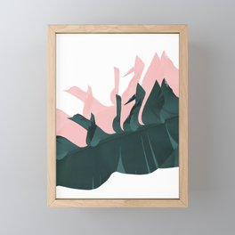 Banana leaves teal pink Framed Mini Art Print
