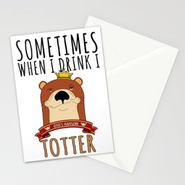 Otter Marten Weasel Wine Drinking Funny Animal Gift Stationery Cards