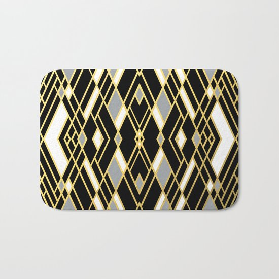 Art Deco Grey Gold Bath Mat
