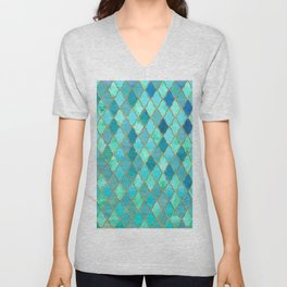 Aqua Teal Mint and Gold Oriental Moroccan Tile pattern Unisex V-Neck