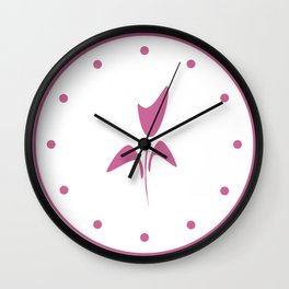 Cute Pink Ink Art Tulip Flower Wall Clock