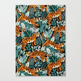 Bengal Tiger Teal Jungle Canvas Print