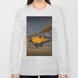 Yellow Biplane with Sunset Cloudy Sky Long Sleeve T-shirt