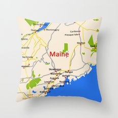 Map of Maine state, USA Throw Pillow