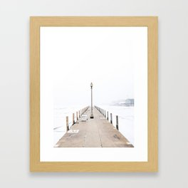 Snowy Lake Michigan Pier Framed Art Print