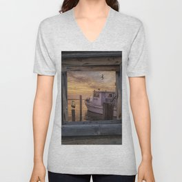 Fishing Boat and Gulls with Fishing Buoys at Sunrise Unisex V-Neck