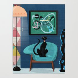 Creature Comforts Mid-Century Interior With Black Cat Poster