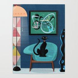 Creature Comforts Mid-Century Interior With Black Cat Poster