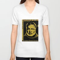 hemingway V-neck T-shirts featuring Ernest Hemingway Bokk Lovers by Guido prussia