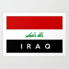 iraq country flag name text Art Print
