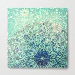 Mandala in Sea Green and Blue Metal Print