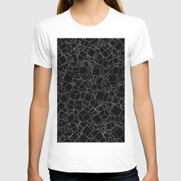 Cubic B&W inverted / Lineart texture of 3D cubes T-shirt