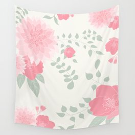 Dahlias and spring flowers in light pastel pink Wall Tapestry