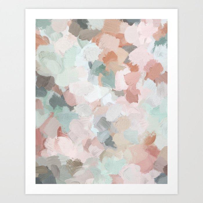 Blush Pink Mint Green Blue Coral Peach Abstract Flower Wall Art Springtime Painting Modern Wall Art Kunstdrucke