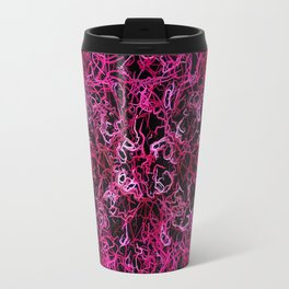 Hot Pink and Black Electric Lines Travel Mug