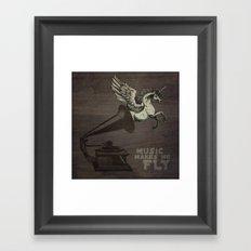 Music makes me fly Framed Art Print
