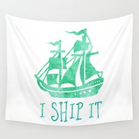 fangirl Wall Tapestries featuring I Ship It - Watercolour by bookwormboutique