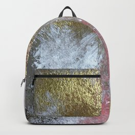 Golden Girl: a pretty abstract mixed media piece in pink, white, gold, and gray Backpack