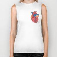 anatomical heart Biker Tanks featuring Anatomical Heart by KA Doodle