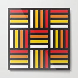 Geometric Pattern #166 (red yellow stripes) Metal Print