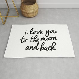 I Love You to the Moon and Back black-white kids room typography poster home wall decor canvas Rug