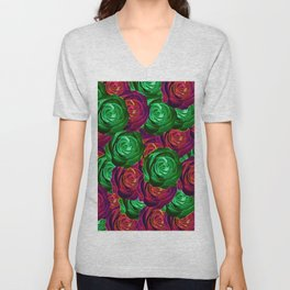 closeup rose pattern texture abstract background in red and green Unisex V-Neck