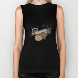 CHAINSAW CUTTING WOOD forester warden gift present Biker Tank