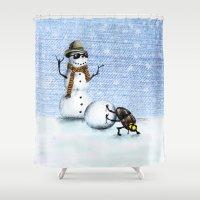 snowman Shower Curtains featuring Snowman by Anna Shell