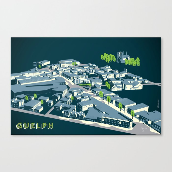 Aerial view of Guelph Canvas Print