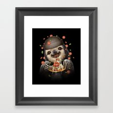 BURGER SLOTH Framed Art Print