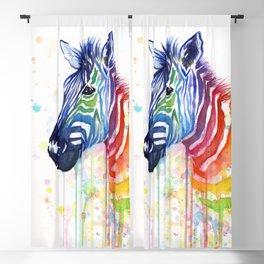 Zebra Rainbow Watercolor Whimsical Animal Blackout Curtain