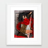 mikasa Framed Art Prints featuring Mikasa Akerman  by Hetty's Art