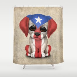 Cute Puppy Dog with flag of Puerto Rico Shower Curtain